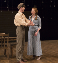 """""""Our Town"""" at George Street Playhouse with Pico Alexander and Aaron Ballard in a scene."""