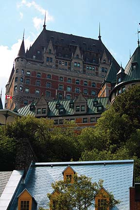 The iconic Fairmont Le Chateau Frontenac sits high on a bluff in the heart of Old Quebec. Photo by Andrew Collins.