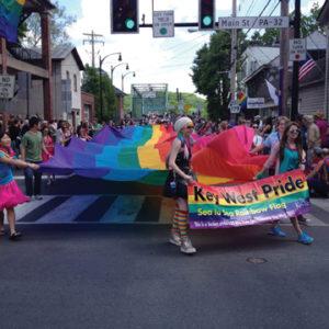 New Hope Celebrates Parade crosses the bridge from Lambertville NJ on May 17 2014