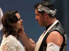 """Coriolanus"" Pictured: Amaia Arana and Greg Derelian. Photo by Jerry Dalia"