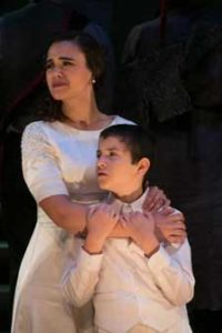 """Coriolanus"" Pictured: Amaia Arana and Anthony Joseph De Augustine. Photo by Jerry Dalia"