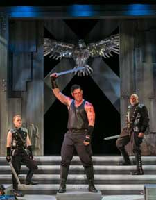 """Coriolanus"" Pictured Clark Scott Carmichael, Greg Derelian and Raphael Nash Thompson. Photo by Jerry Dalia"