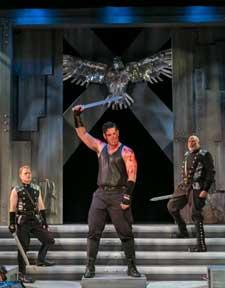 """Coriolanus"" Pictured Clark Scott Carmichael, Greg Derelian and Raphael Nash Thompson. Photo by Jerry Dalia"