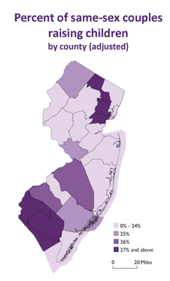 NJ Same-Sex child rearing by county map