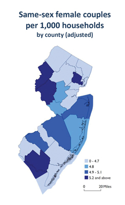New Jersey Same-Sex female couples data