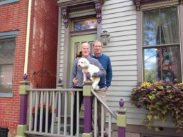 Bob and Bill and Bella in front of their Mill Hill home in Trenton