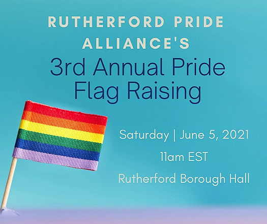 3rd Annual Pride Flag Raising flyer with a rainbow flag and details of event