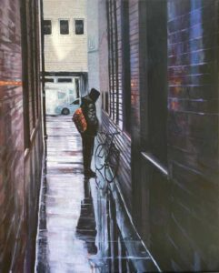 """David Meadow painting """"Lost in the City"""""""