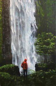 "David Meadow painting ""The Waterfall"""