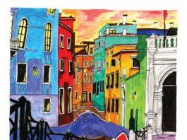 "Colorful Kinsey Ratzman painting of ""Venice."""