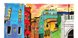 "Colorful Kinsey Ratzman painting of ""Venice."""