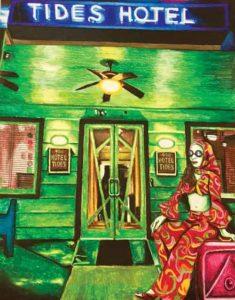 "Steve Cummings painting ""Jacqueline"" at Hotel Tides in Asbury Park, NJ"