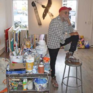 Tony LaSalle reflecting inside his Asbury Park gallery