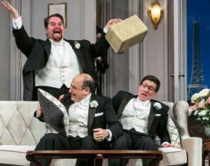 """""""A Comedy of Tenors"""" at Paper Mill Playhouse photo by Jerry Dalia features John Treacy Egan, Michael Kostroff and David Josefsberg."""