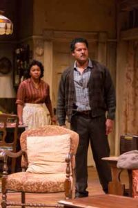 "Crystal A. Dickinson (Ruth Younger) and Brandon J. Dirden (Walter Lee Younger) in in ""A Raisin in the Sun"" at Two River Theater."