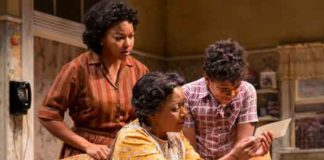 "Crystal A. Dickinson (Ruth Younger), Brenda Pressley (Lena Younger) and Owen Tabaka (Travis Younger) in ""A Raisin in the Sun"" at Two River Theater."