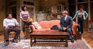 "Brandon J. Dirden (Walter Lee Younger), Crystal A. Dickinson (Ruth Younger), Nat DeWolf (Karl Lindner) and Jasmine Batchelor (Beneatha Younger) in ""A Raisin in the Sun"""