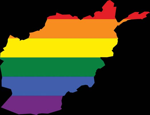 Map of Afghanistan with Rainbow flag colors