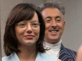 """Emma Stone with Alan Cumming during filming of """"Battle of the Sexes"""" in 2017"""