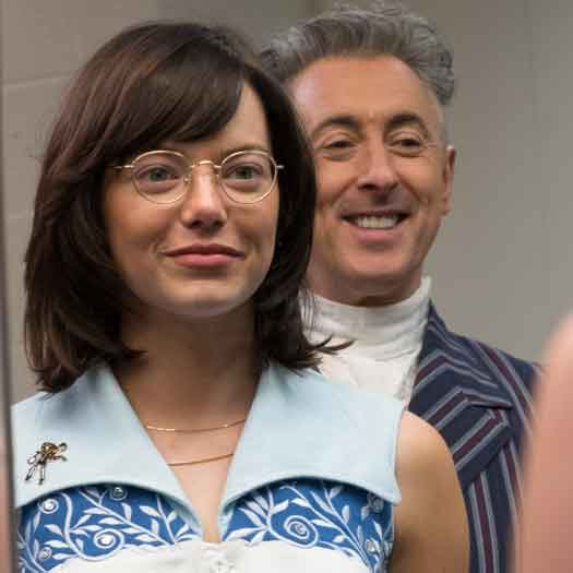 Emma Stone with Alan Cumming during filming of