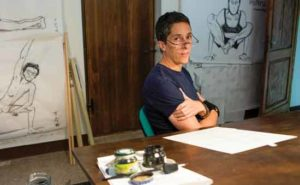 Alison Bechdel at home.