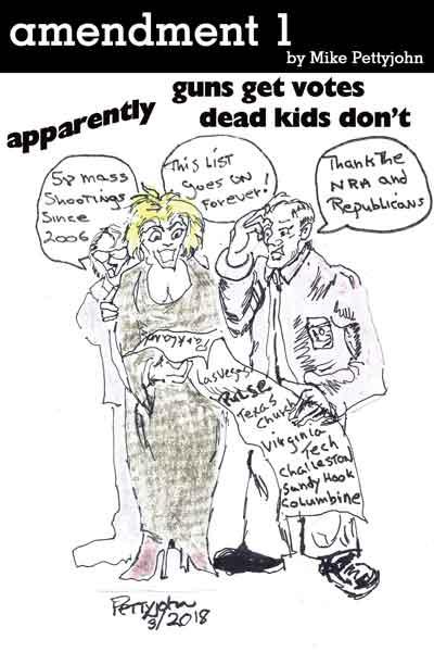 Amendment One cartoon by Mike Pettyjohn April 2018