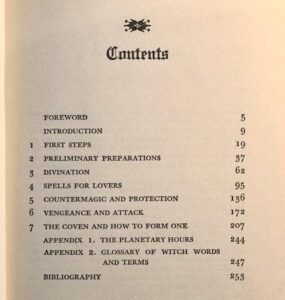 "Contents page in ""Mastering Witchcraft"""