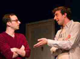 """Alec Silberblatt and Amos VanderPoel directed by Jessica Stone at George Street Playhouse in """"Bad Jews."""" Photo by T. Charles Erickson."""