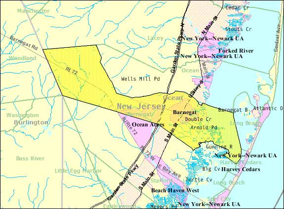 Map of Barnegat Township in Ocean County NJ