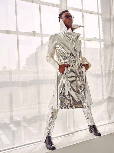Billy Porter in a silver outfit