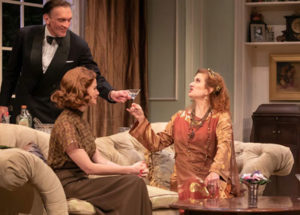 """Blithe Spirit at STNJ with Brent Harris as Charles, Kate MacCluggage as Ruth, and Tina Stafford as Madame Arcati. Photo by Jerry Dalia"