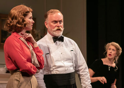 """Blithe Spirit"" at STNJ with Kate MacCluggage as Ruth, Ames Adamson as Mr. Bradman and Monette Magrath as Mrs. Bradman. Photo by Jerry Dalia."