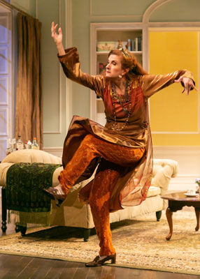 """Blithe Spirit"" at STNJ with Tina Stafford as Madame Arcati. Photo by Jerry Dalia."