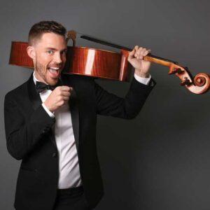 Branden James holding cello on his left shoulder