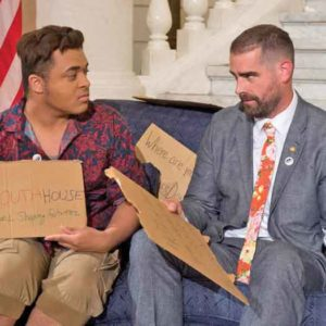 Pennsylvania Representative Brian Sims at a LGBT homeless organization event