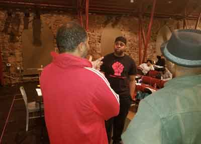 "Brandon Rubin, Jerrell L. Henderson, and Will Badgett rehearsal photo from ""Caged"" at Passage Theatre"
