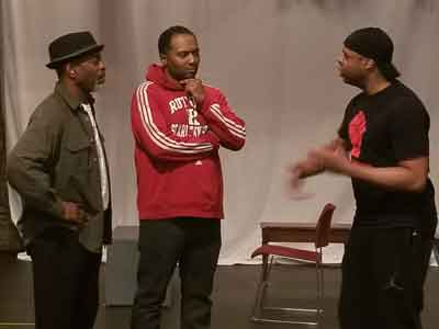 "Will Badgett, Brandon Rubin, and Jerrell L. Henderson rehearse for ""Caged"" at Passage Theatre"