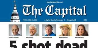 The Capital Gazette front page on June 29, 2018