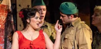 """Carmen"" mezzo-soprano Daniela Mack sings to the soldiers"