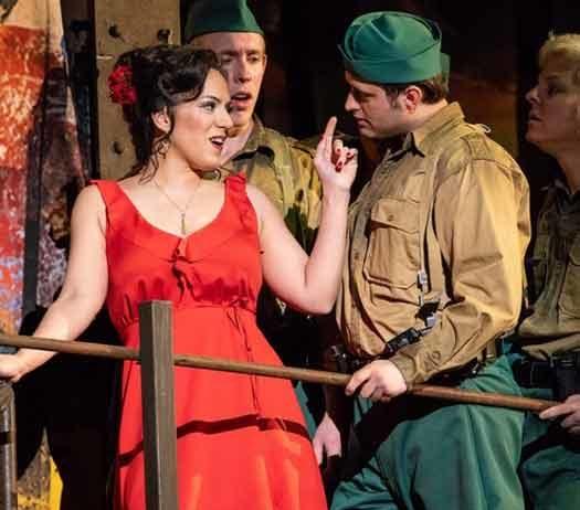 """Carmen"" mezzo-soprano Daniela Mack sings to the soldiers"
