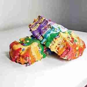 Chris Tucker rainbow colored Funfetti scone creations from Betta With Butta