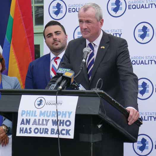 Garden State Equality Executive Director Christian Fuscarino with NJ Democratic candidate for governor Phil Murphy. Photo by Caroline Novack.