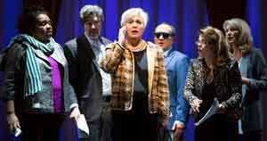 "Aisha de Haas, Chris Shyer, Nancy Opel, Alan Muraoka, Andrea Bianchi and Elizabeth Ward Land in the musical comedy ""Curvy Widow."""