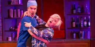 "Chris Shyer and Nancy Opel in the musical comedy ""Curvy Widow,"" at George Street Playhouse. Photo by T. Charles Erickson"