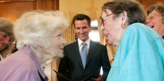 Del Martin and Phyllis Lyon are married by San Francisco Mayor Gavin Newsom on June 16, 2008. Photo: Associated Press