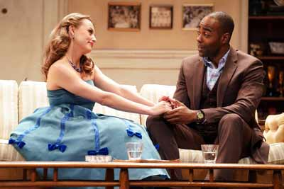 """Dial 'M' for Murder"" with Olivia Gilliatt and Clifton Duncan. Photo by Joan Marcus"