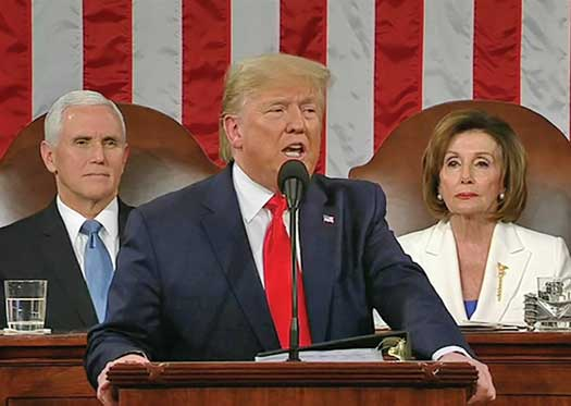 President Trump was probably displaying some disdain for House Speaker Nancy Pelosi Tuesday night