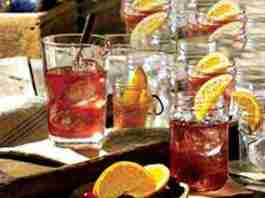 Table covered with mixed drinks