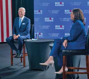 Kamala Harris is seen here on the right with Joe Biden