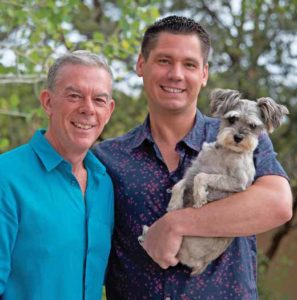 Elvis Duran with his husband Alex and Schnauzer, Max